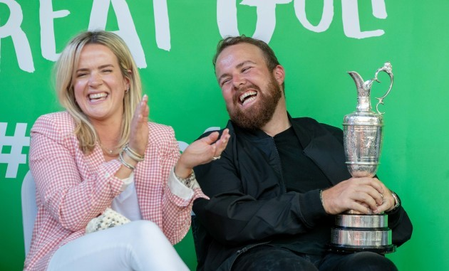 Shane Lowry with his wife Wendy Honner at his homecoming in Clara 23/7/2019