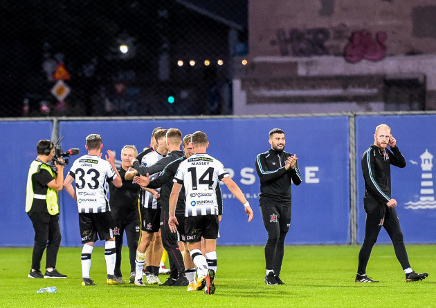 Dundalk players celebrate after the game