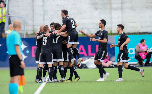 Qarabag players celebrate scoring their sides first goal