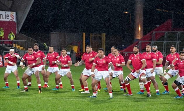 The Tonga players preform the Haka