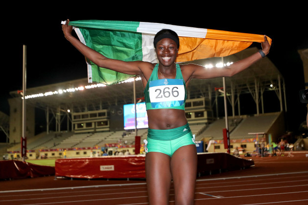 Rhasidat Adeleke celebrates winning 100m final