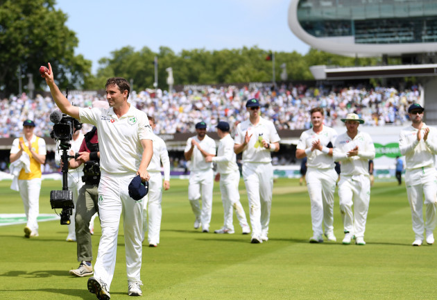 Tim Murtagh walks off after taking 5 wickets