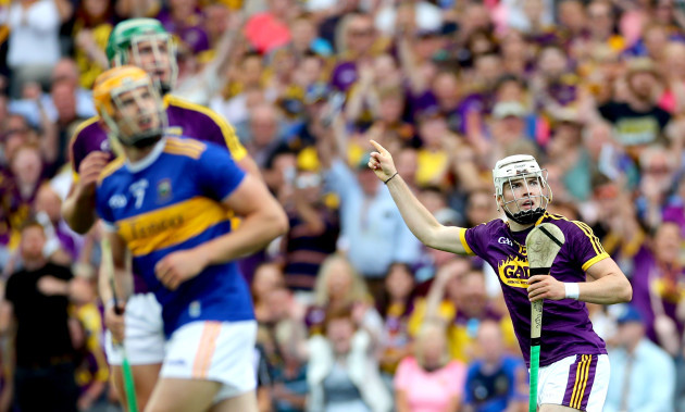 Rory O'Connor celebrates scoring a early point