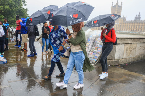 Wet and Rainy Day in London, UK - 30 Jul 2019