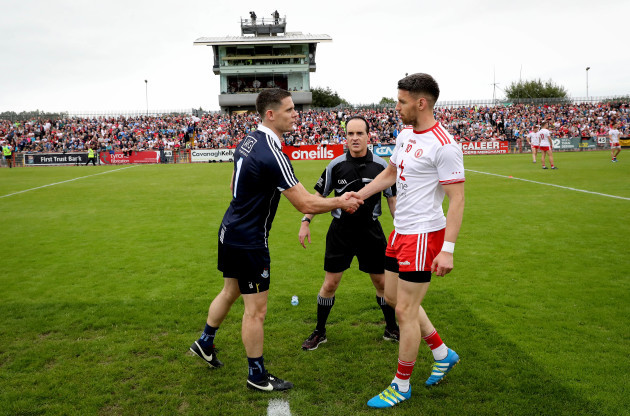 Mattie Donnelly with Stephen Cluxton and referee David Coldrick at the coin toss