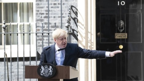 Boris Johnson arrives as Prime Minister to Downing Street and makes his first speech. London, UK. 24/07/2019