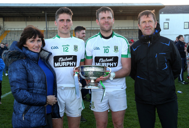 Former Kerry manager Jack O'Connor with his wife Bridie and sons Eanna and Cian of Moorefield
