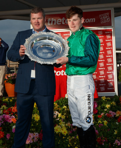 Gordon Elliott and jockey Luke Dempsey celebrate winning the Galway Plate with Borice