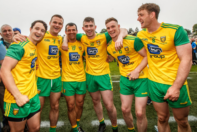 Neil McGee, Frank McGlynn, Patrick McBrearty, Ciaran Thompson and Hugh McFadden celebrates