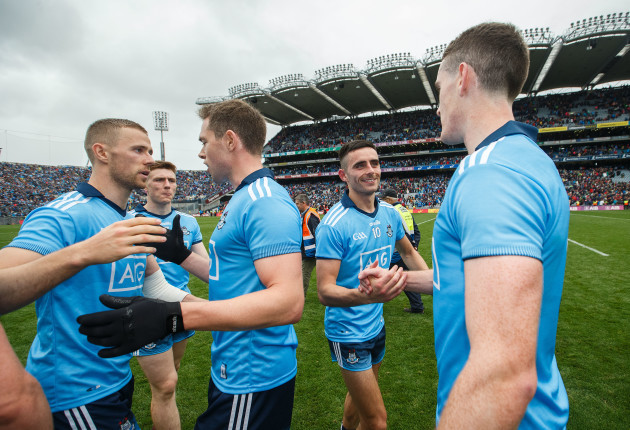 Jonny Cooper, Dean Rock, Niall Scully and Brian Fenton celebrate after the game