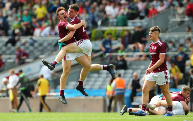 Galway's Daniel O'Flaherty and Conall Gallagher celebrate