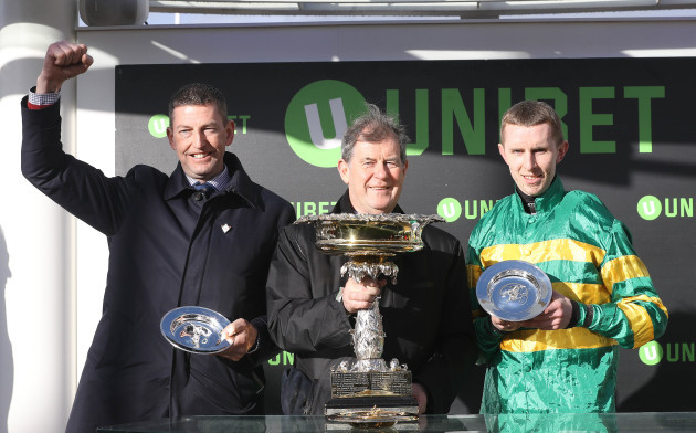 Gavin Cromwell, JP McManus and Mark Walsh celebrate winning with Espoir D'Allen