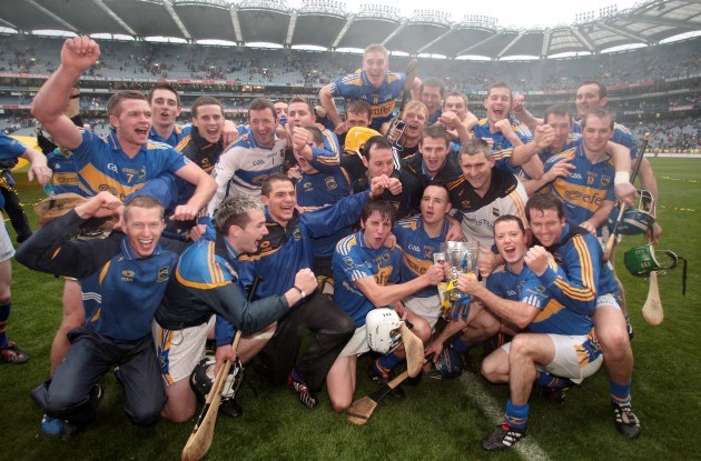Tipperary players and and managerment celebrate