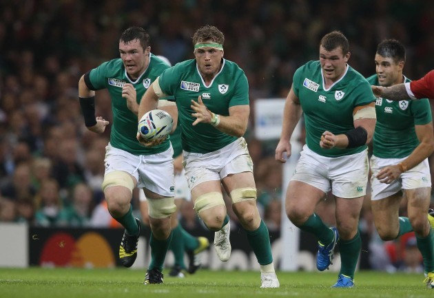 Jamie Heaslip supported by Peter O'Mahony and Jack McGrath