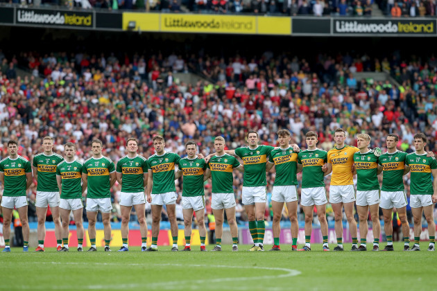 Kerry team during the national anthem
