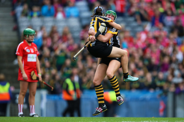 Edwina Keane and Ann Dalton celebrate at the final whistle
