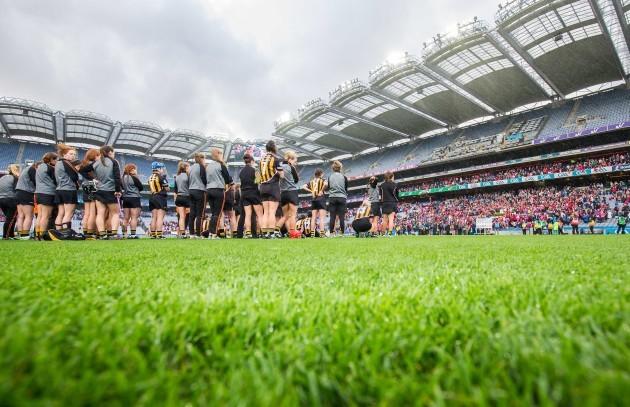 The Kilkenny team watch the trophy presentation