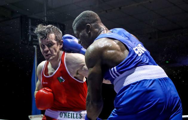Chevron Clarke in action against Darren O'Neill