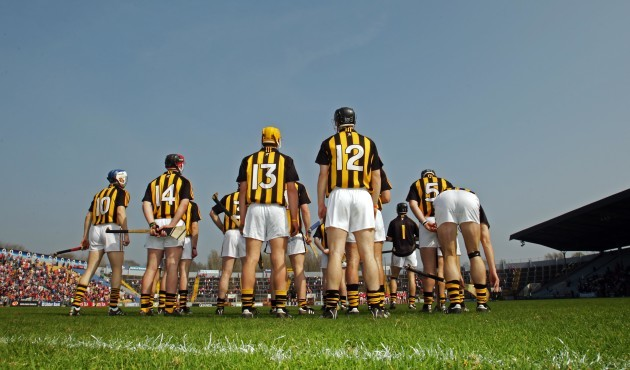 The Kilkenny team stand for the National Anthem