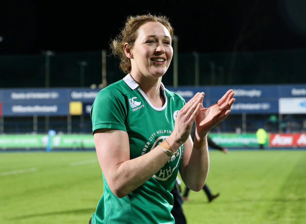 Marie-Louise Reilly applauds the fans after the game