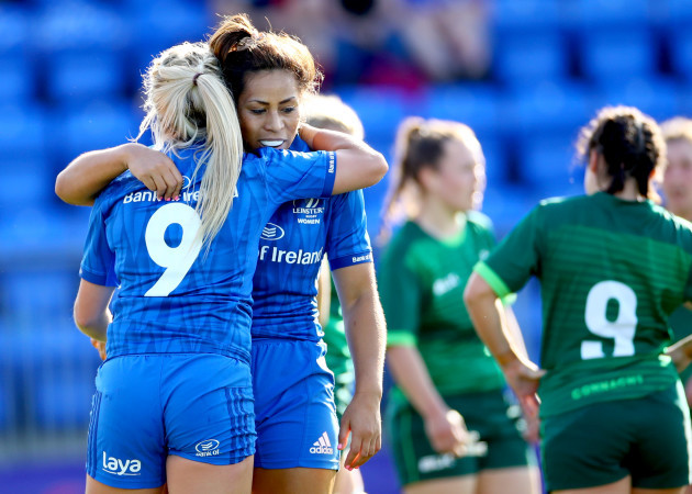 Ailsa Hughes celebrates her try with Sene Naoupu