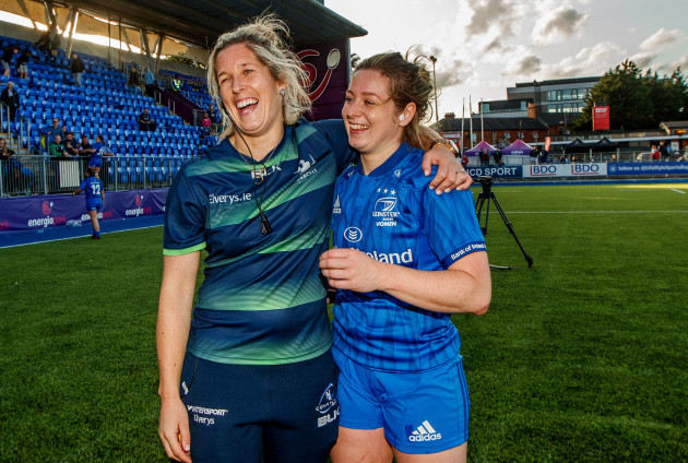 Alison Miller and her sister Grace after the game