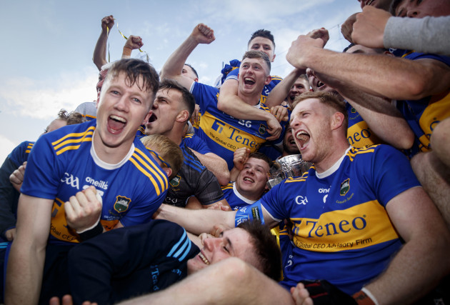 Tipperary celebrate with the trophy after the game