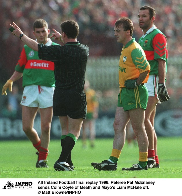 Colm Coyle of Meath and Mayo's Liam McHale All Ireland Football final replay 1996