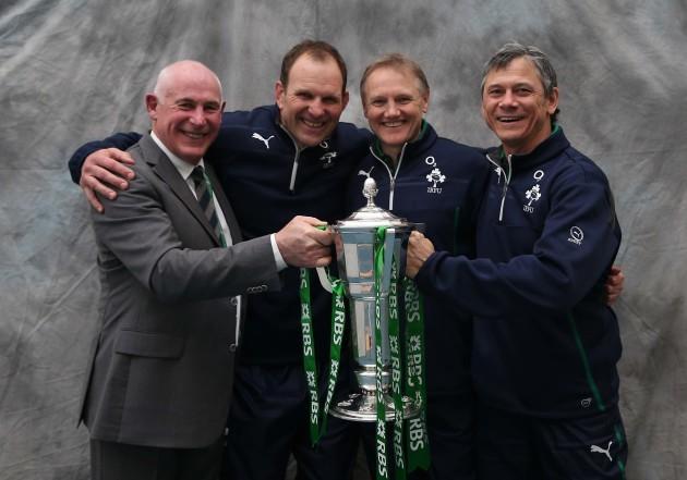 Mick Kearney, John Plumtree, Joe Schmidt and Les Kiss with the trophy