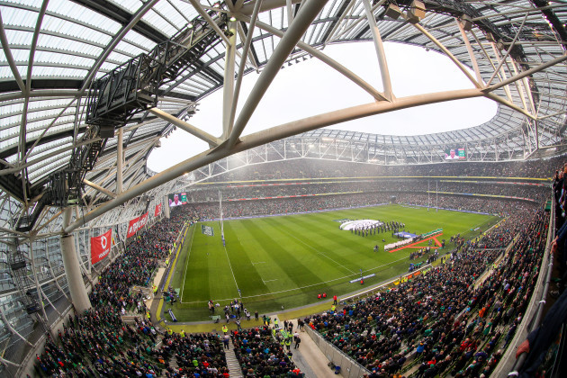 a-view-of-the-aviva-stadium-as-the-two-teams-stand-for-the-national-anthems