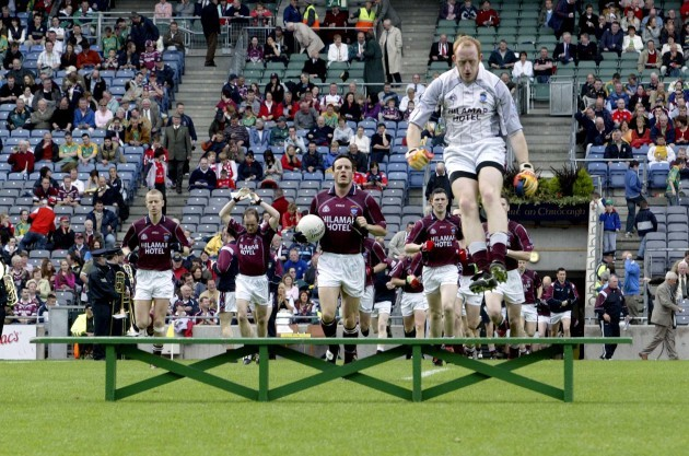 general-view-of-the-westmeath-team-as-goalkeeper-gary-connaughton-jumps-over-the-team-bench