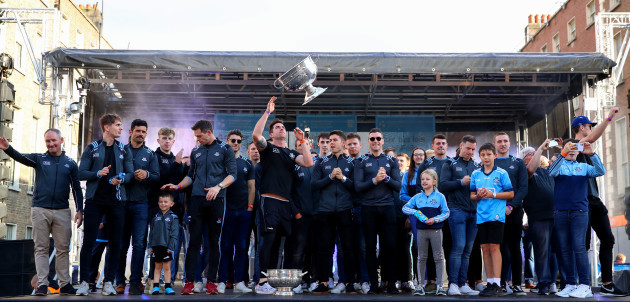 a-view-of-the-senior-football-champions-up-on-stage-with-the-sam-maguire-cup