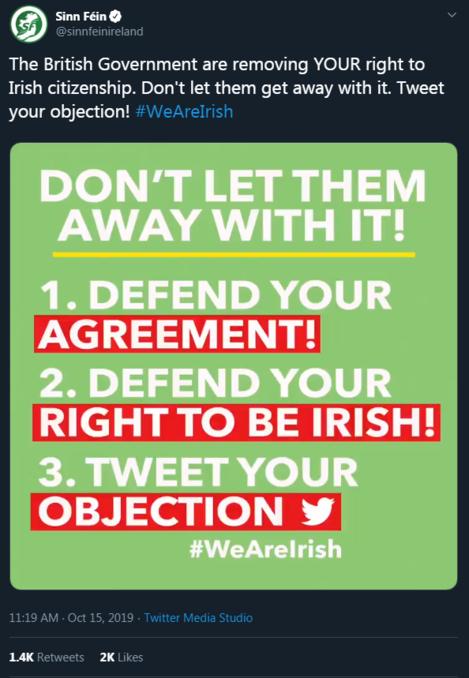 Sinn Fein tweet 2