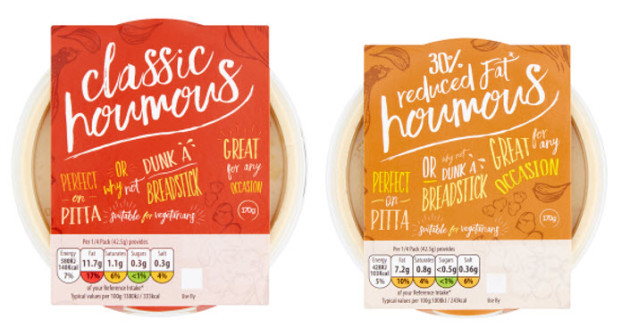 classic and reduced fat houmous zorba