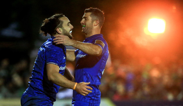 james-lowe-is-congratulated-by-rob-kearney-after-scoring-a-try