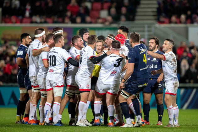 ulster-and-asm-clermont-auvergne-players-scuffle-early-in-the-game