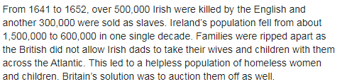 irish slaves og claim