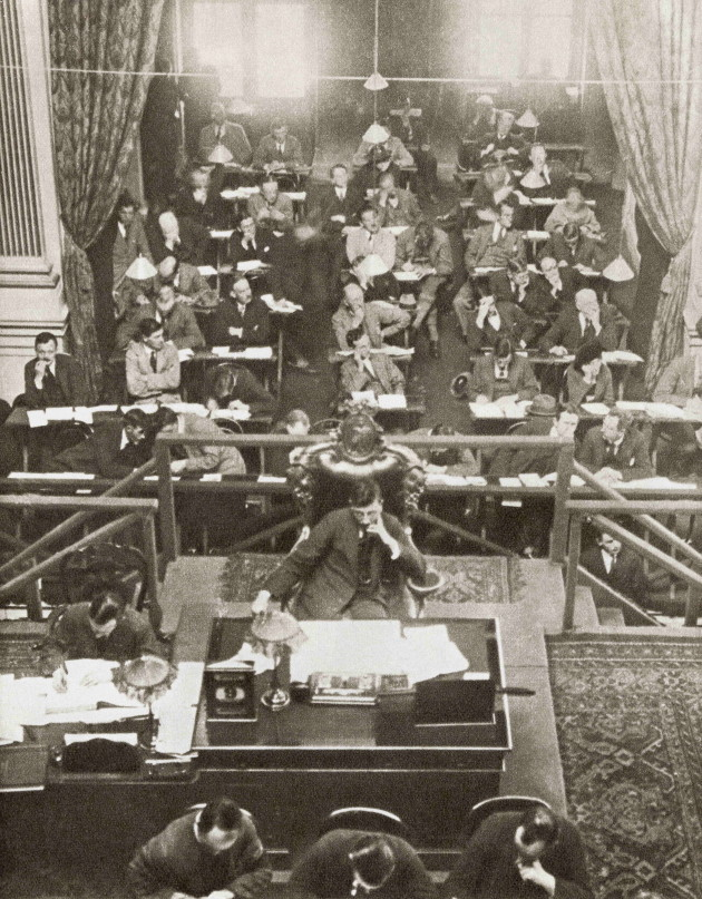 the-opening-of-dail-eireann-or-chamber-of-deputies-of-the-irish-free-state-parliament-dublin-ireland-on-september-9-1922-from-the-story-of-25-eventful-years-in-pictures-published-1935