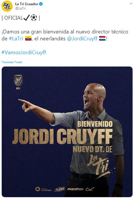 Jordi Cruyff Ecuador
