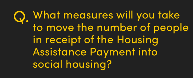 What measures will you take to move the number of people in receipt of the Housing Assistance Payment into social housing