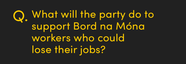 What will the party do to support Bord na Móna workers who could lose their jobs