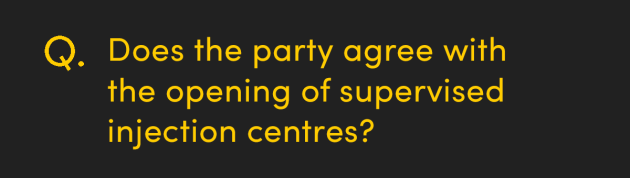 Does the party agree with the opening of supervised injection centres