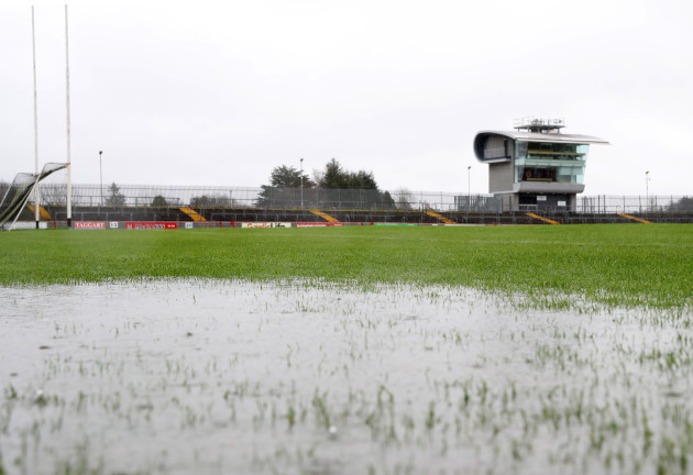 a-view-of-healy-park-after-the-match-was-abandoned-due-to-a-waterlogged-pitch