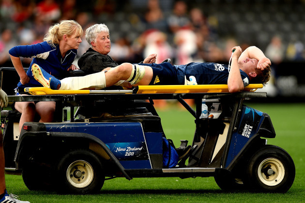 james-lentjes-departs-the-field-with-a-suspected-broken-leg