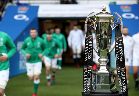 a-view-of-the-guinness-six-nations-championship-trophy-as-the-two-teams-run-out-into-twickenham-stadium