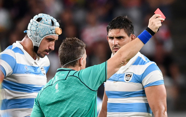 tomas-lavanini-receives-a-red-card-by-nigel-owens