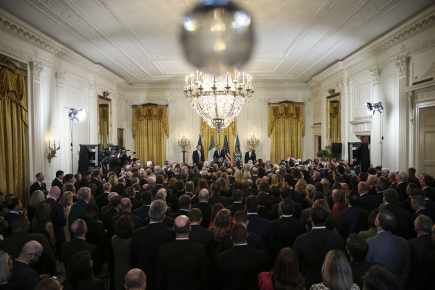 president-donald-trump-participate-in-the-shamrock-bowl-presentation-by-the-prime-minister-of-ireland