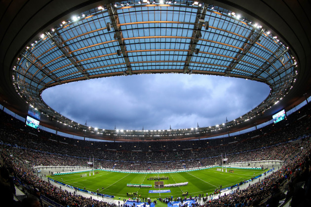 a-view-of-the-stade-de-france-as-the-teams-stand-for-the-national-anthems