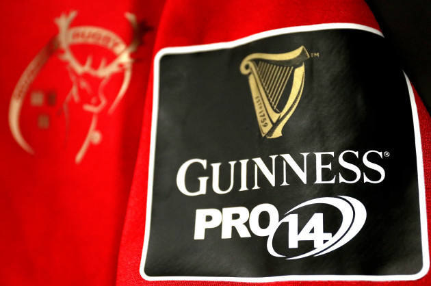a-general-view-of-the-guinness-pro14-logo-on-a-munster-jersey