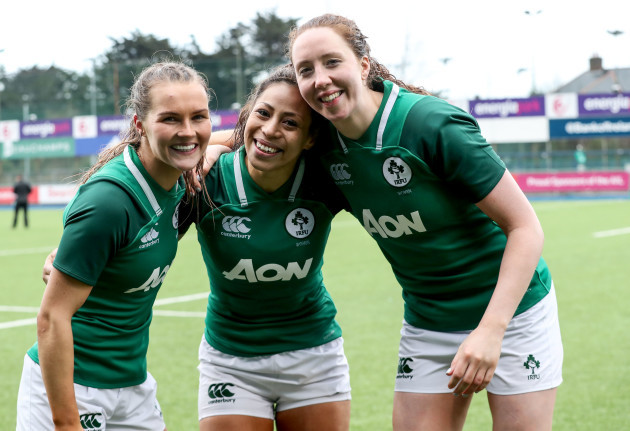 aoife-doyle-celebrates-with-sene-naoupu-and-aoife-mcdermott-after-the-game